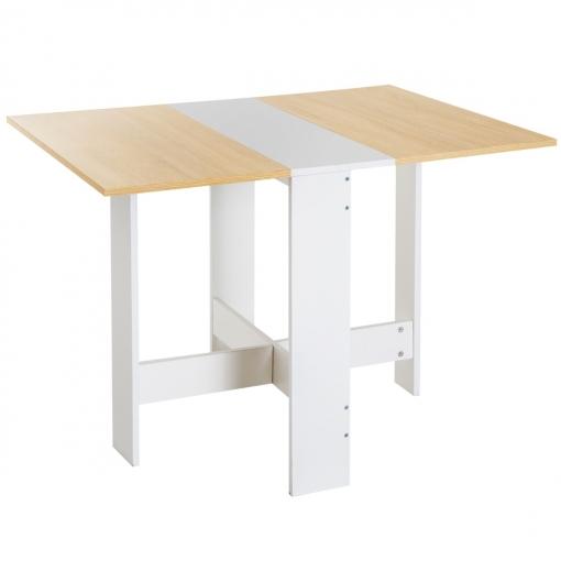 Homcom Mesa Plegable Cocina Salon Mesa Auxiliar Con 2 Alas Abatibles Madera 103x76x73 5cm
