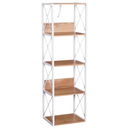 Homcom 5 niveles estanter a de madera para ba o sal n for Estanterias de bano carrefour