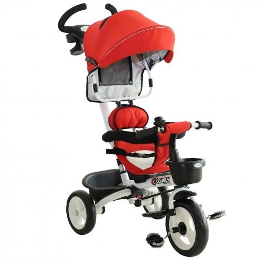 Homcom® Triciclo Bebé 4 En 1 Trolley Trike Bicicletas Para Niños +18 Mes Evolutivo Asiento Giratorio Capota Barra Desmontable Rojo