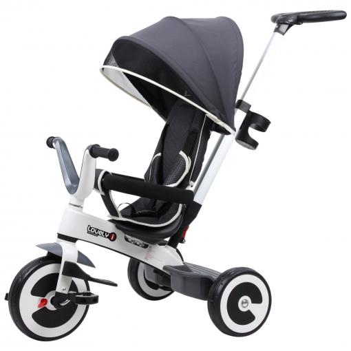 Homcom® Triciclo Bebé 4 En 1 Trolley Trike Bicicletas Para Niños +18 Mes Evolutivo Capota Barra Y Pedales Desmontables Gris
