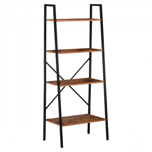 Homcom estanter a de escalera industrial librer a con 4 for Estanterias bano carrefour