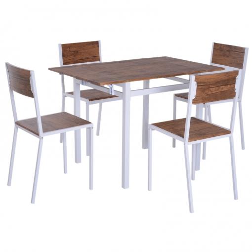 Homcom® 5 Piezas Conjunto De Mesa Extensible Y 4 Sillas De Comedor Juego  Muebles De Cocina Sala Madera