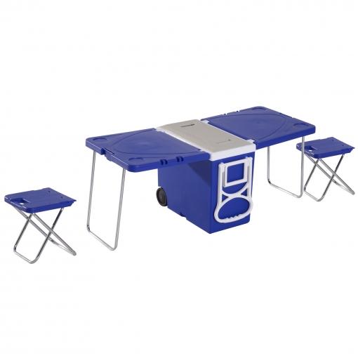Outsunny nevera termo 28l con ruedas convertible en mesa for Mesas de camping plegables carrefour