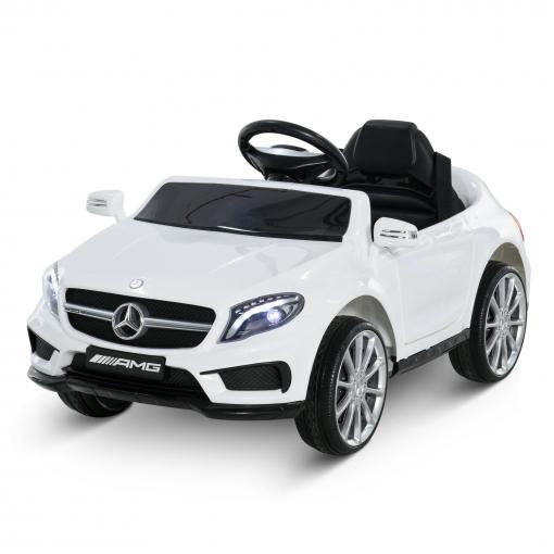 Homcom® Coche Eléctrico Para Niño A Partir De 3 Años Automóviles Infantiles Mercedes Benz Gla Con Mando A Distancia Mp3 Usb Carga 30kg 100x58x46cm Blanco
