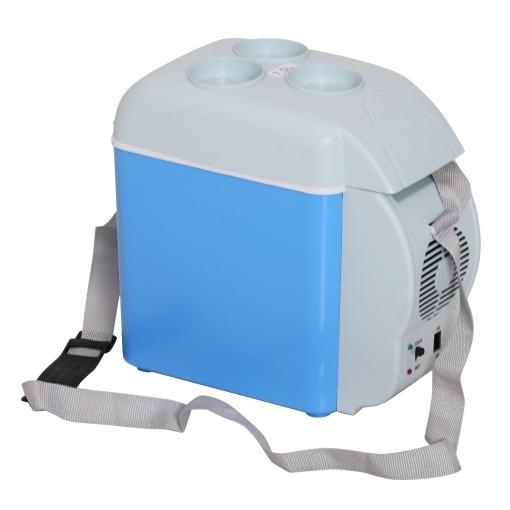 Homcom® Nevera Termoeléctrica Portátil 7.5l De Coche Mini Nevera Eléctrica Con 2 Funciones Para Enfriar Y Calentar Para Camping Azul Y Gris