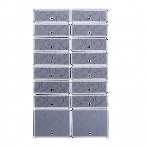Homcom Armario Modular Estantería Por Módulos Montaje En Bricolaje Armario Extraíble De 16 Cubos Con Puertas Para Almacenamiento De Zapatos Ropa