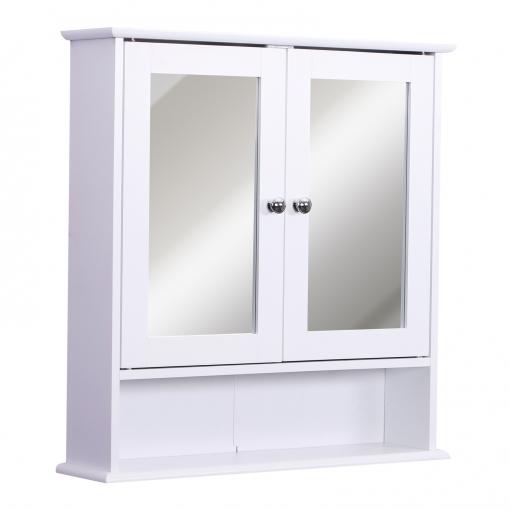 Kleankin Armario De Bano Con Espejo De Pared Con 2 Puertas Armario