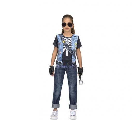 b93baad4d Camiseta Disfraz De Rockera Esqueleto Para Niña