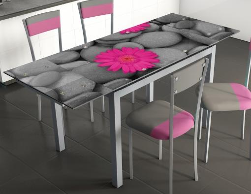 Mesa De Cocina Extensible En Cristal Templado. 110/170x70 Cm | Las ...