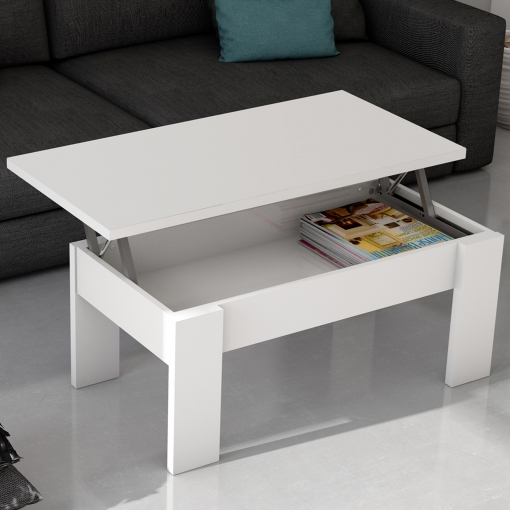 Mesa De Centro Elevable Blanca Para Salón Comedor. 100x50 Cm con ...