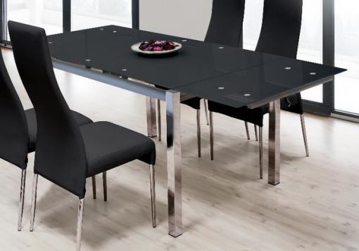 Mesa Extensible Para Comedor Con Cristal Templado Negro Estructura ...