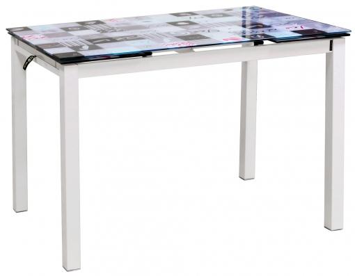Mesa Extensible Cocina Superficie Cristal Decorada Estructura Color Blanco  110-170x70x75cm
