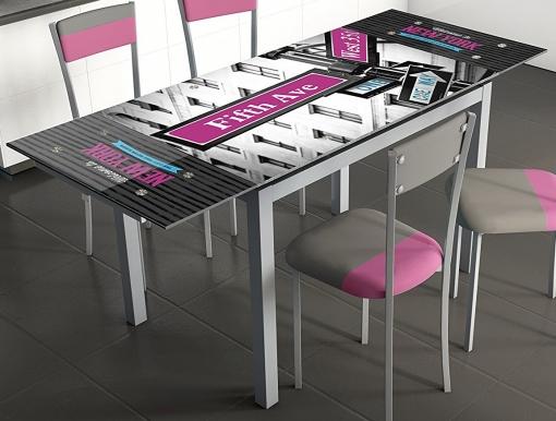 Mesa De Cocina Extensible 110x75x70 Cm Gris Con Serigrafiado 5ª Avenida New  York Cristal