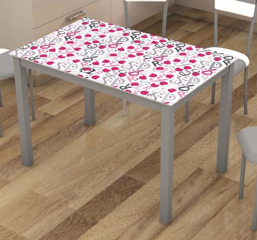 Mesa Para Cocina Fija Cristal Serigrafiada Gris, Blanca Y Rosa ...