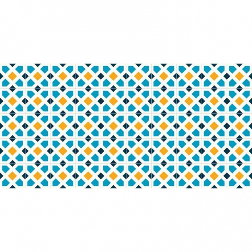 Flooralia - Alfombra Vinilica Clasica, 120x48cm, Blanco-azul-amarillo
