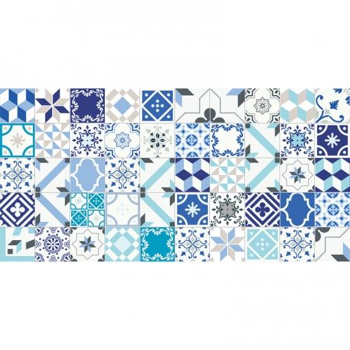 Flooralia - Alfombra Vinilica Patchwork, 170x120cm, Blanco-azul