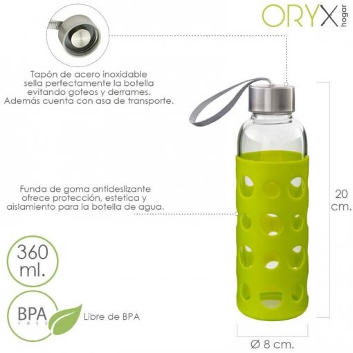 Botella De Cristal Con Funda Goma Y Tapon Antigotas 360 Ml.  a35290ac9a34