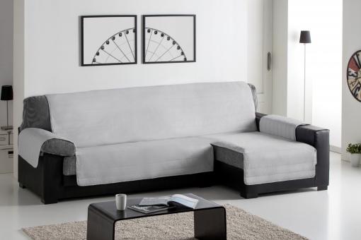 Cubre Sofa Acolchado Chaise Longue 240 Derecho Reversible Gris