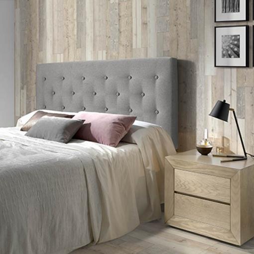 Cabecero de cama tapizado oslo 90 x 100 x 8 cm capitone en tela gris las mejores ofertas de - Cabeceros de cama tapizados de tela ...