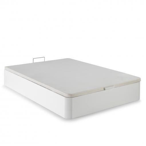 Canape Abatible 135x190 De Gran Capacidad Con Esquinas Redondeadas En Madera, Base Tapizada 3d Transpirable Color Blanco