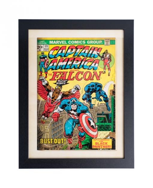 Print Enmarcado 30x40 Cm Marvel Comics Captain America