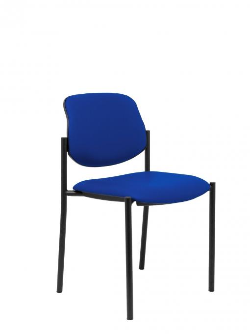 Silla Confidente De 4 Patas Y Estructrua Negra - Asiento Y Respaldo Tapizados En Tejido Similpiel Color Azul Piqueras Y Crespo Modelo Villalgordo