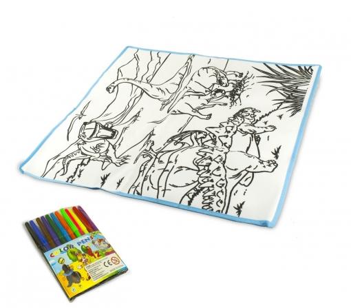 121769 Alfombra Para Jugar Y Colorear Dinosauri Lavable 50x50cm