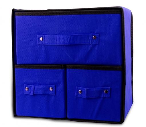049880 Organizador Ahorrador De Espacio En Tnt Con 3 Cajones Welkhome 30x29x22cm | Azul