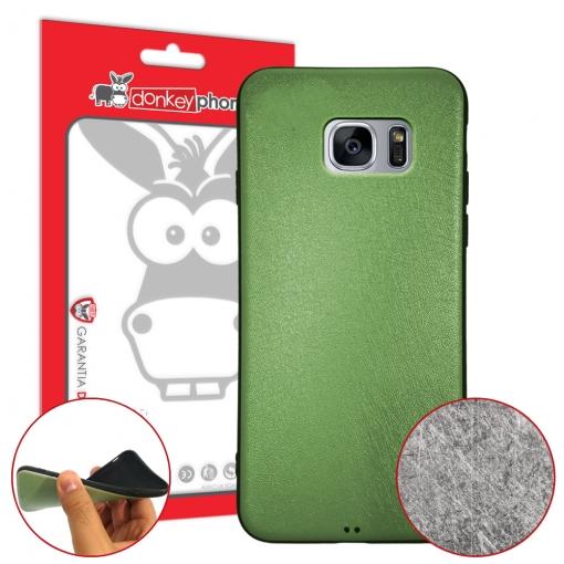 d1804ed0fe4 Donkeyphone - Funda Carcasa De Gel Metalizada Con Efecto Rayado De Silicona  Tpu Verde Para Samsung