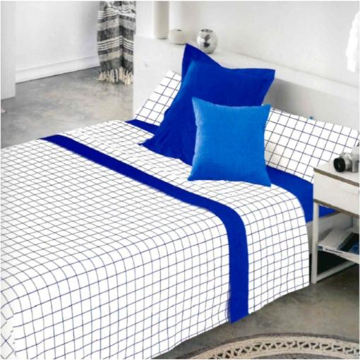 Cotton Artean - Juego De Sabanas Cuadros Azul Cama De 160 X 190/200.