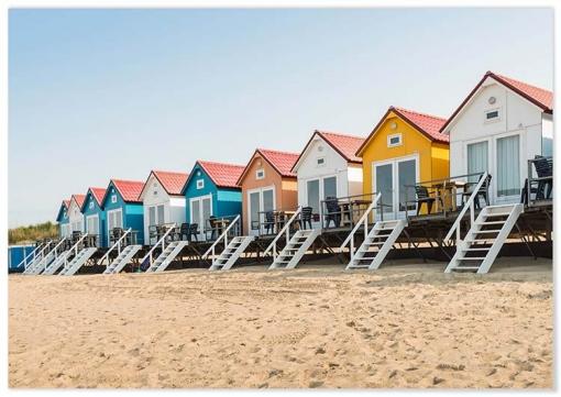 Panorama® Lienzo Cabañas En La Playa 100 X 70 Cm | Impreso En Lienzo De Alta Calidad Con Bastidor | Cuadros Paisajes | Cuadros Zen | Cuadros Decoración Salón | Cuadros Para Dormitorio