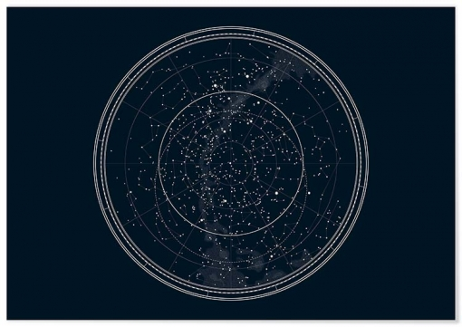 Panorama® Póster Mapa De Estrellas 50 X 70 Cmm | Láminas Decorativas Pared | Impreso En Póster De Alta Calidad De 250gr | Cuadros Paisajes | Póster Naturaleza | Cuadros Decoración Salón