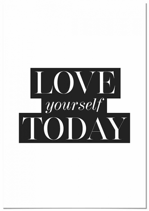Panorama® Cuadro De Aluminio Love Yourself Today 30x21cm   Impreso En Aluminio Dibond Blanco   Cuadro Frases Positivas   Cuadros Mensajes Decoración   Cuadros Para Dormitorio   Láminas Decorativas