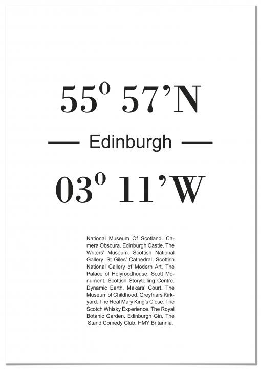 Panorama® Cuadro Cartón Pluma Coordenadas Ciudad De Edimburgo 35 X 50 Cm | Impreso En Cartón Pluma Alta Calidad | Cuadros Decoración Salón | Cuadros Dormitorio | Láminas Decorativas | Cuadros Modernos