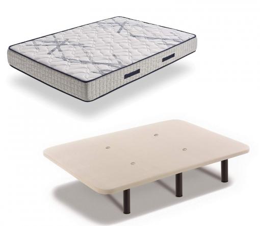Colchón Xtrem Pocket De Muelle Ensacado + Base Tapizada Con Válvulas De Transpiración Y 6 Patas 26 Cm, 140x180 Cm