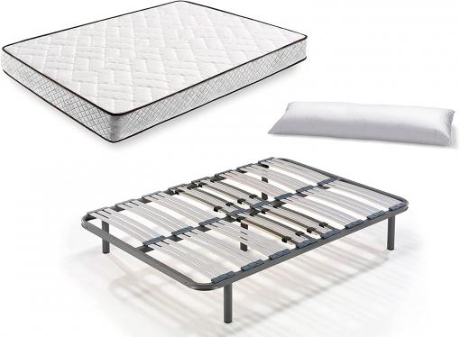 Cama Completa - Colchón Flexitex + Somier Multiláminas + 5 Patas De 26cm + Almohada De Fibra, 105x190 Cm