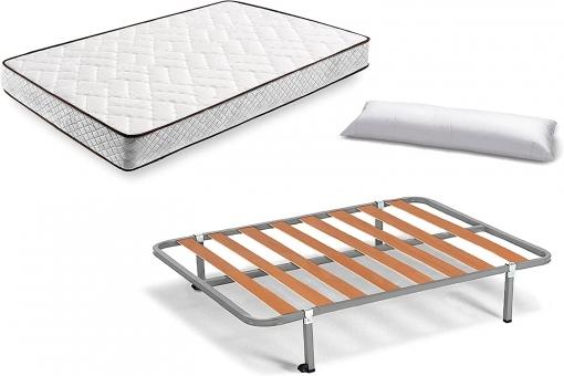 Cama Completa - Colchón Flexitex + Somier Basic + 4 Patas De 32cm + Almohada De Fibra, 90x190 Cm