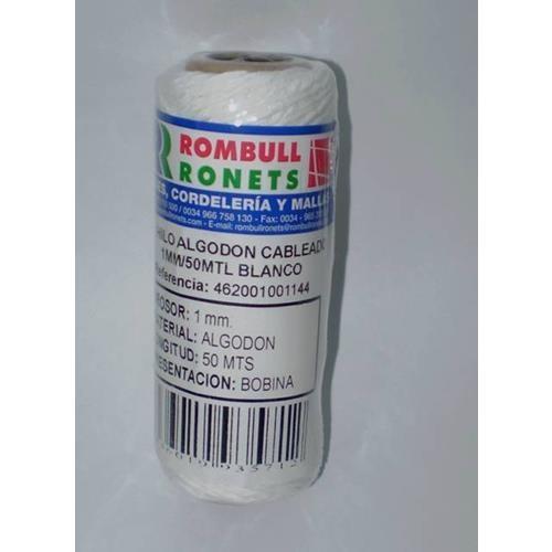 Hilo Algodon Aliment. 1mm Blanco 50m.