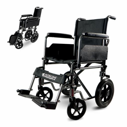 silla de ruedas de acero plegable con reposapiés y reposabrazos