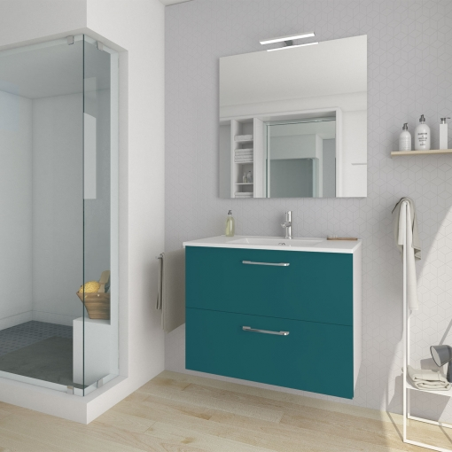 El Bano Azul.Mueble De Bano Suspendido Nexo Azul 80cm 2 Cajones Lavabo