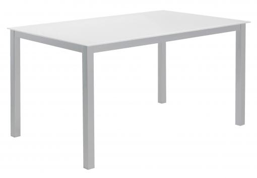 Mesa Cocina O Salón Cristal Blanco Fija Estructura Acero 140x90 Cm