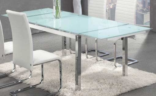 Mesa Extensible De Cristal Y Patas Cromadas Para Salón Comedor 140 ...