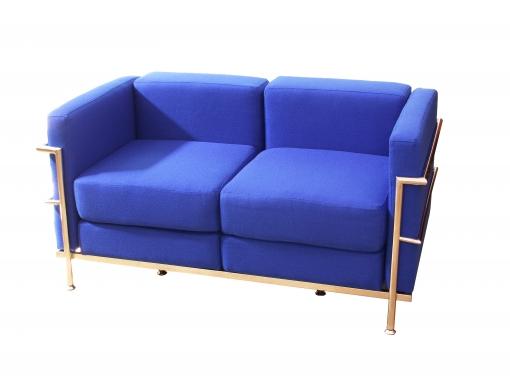 Sofa De Modulo/espera De Dos Plazas  Tapizado En Tejido Bali Color Azul Piqueras Y Crespo Modelo Tarazona