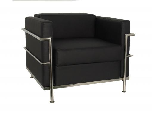 Sofa De Modulo/espera De Una Plaza  Tapizado En Similpiel Color Negro Piqueras Y Crespo Modelo Nerpio