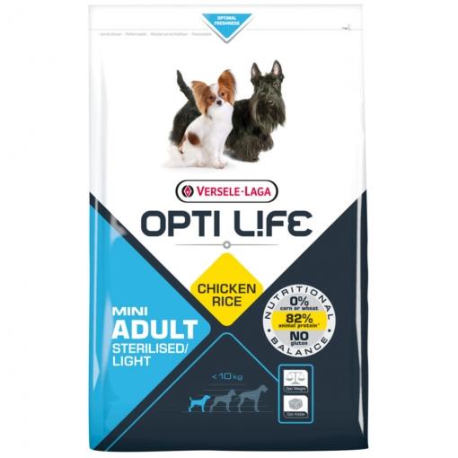 Pienso Para Perros Opti Life Adult Light Mini Con Pollo Y Arroz   Pienso Para Perros Mini Versele Laga   Comida Para Perros 7,5 Kgs