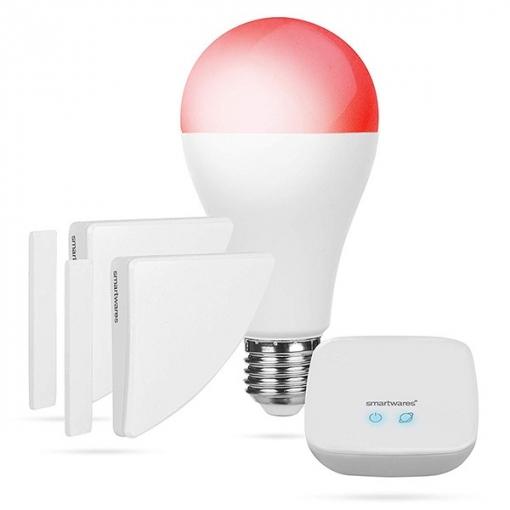 Smartwares Kit Alarma, Bombilla Inteligente Y Contacto De Puerta Sh8-99401