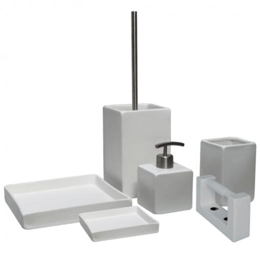 Accesorios Para El Bano Carrefour.L Aqua Set De Accesorios De Bano Cuadrados 6 Piezas Ceramica Blanca