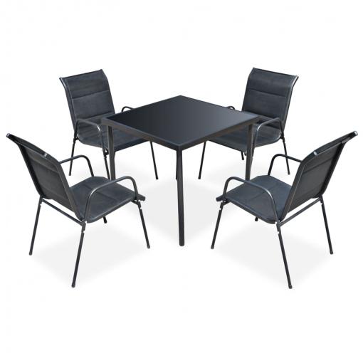 Vidaxl Juego De Comedor De Jardín 5 Piezas De Acero Negro