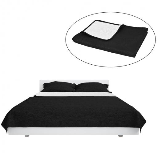 Vidaxl colcha de cama reversible acolchada doble cara Negro