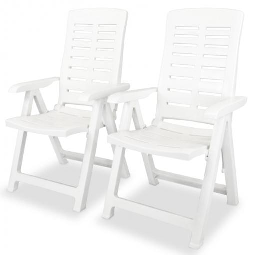 Vidaxl Sillas De Jardín Reclinables 2 Unidades Plástico Blanco